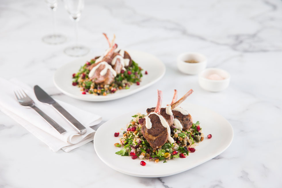 Victorian Mini Lamb Rack and Grain Salad w/ cumin-infused Greek yoghurt and Attiki Honey