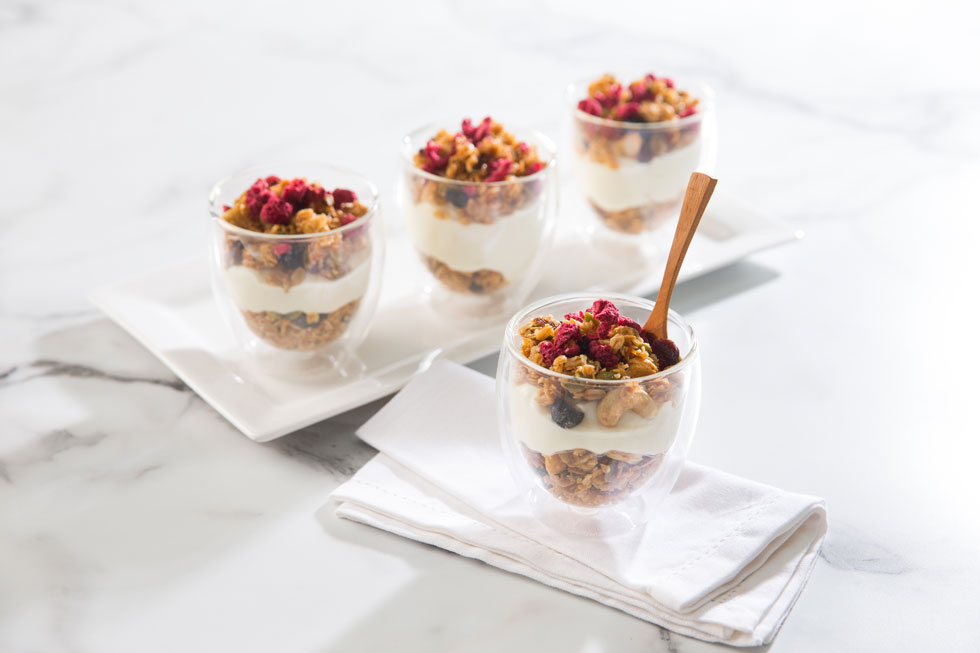 Granola Cups w/ Greek yoghurt and freeze dried berries
