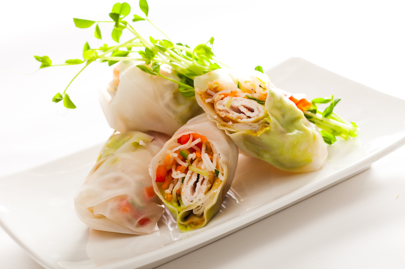 Vietnamese Spring Rolls beautifully presented on a white plate